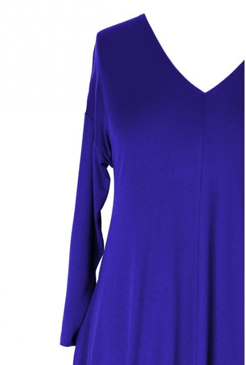 Chabrowa sukienka CYNTIA z długim rękawem