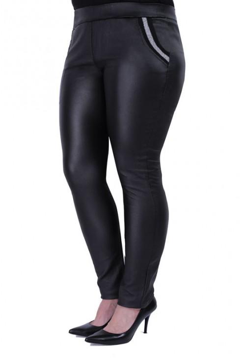 Czarne spodnie z eko skóry MARTHA