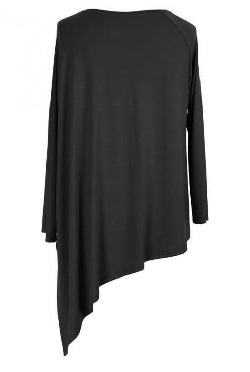 CZARNA skośna bluzka CATRINE z długim rękawem