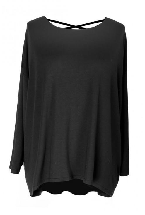 Czarna bluzka z paseczkami na plecach MARINA