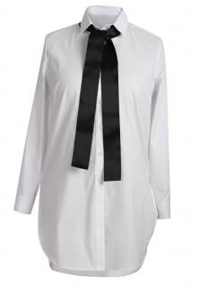 Długa BIAŁA koszula-tunika z szeroką krawatką - SHEILA