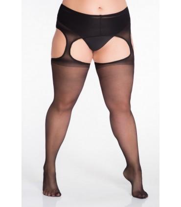 Strip Panty size ++ czarne rajstopy imitujące pończochy