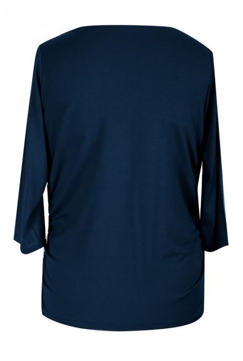 Granatowa bluzka z dekoltem woda i marszczeniem HELEN