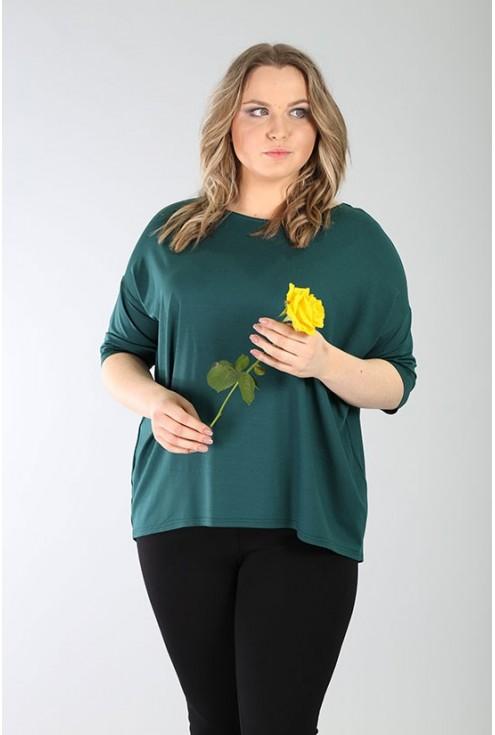 Bluzka z paseczkami na plecach MARINA – butelkowa zieleń