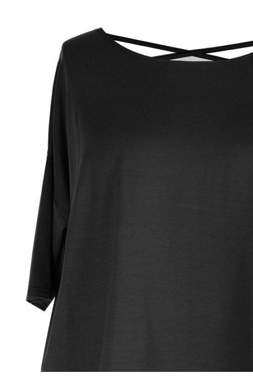 CZARNA bluzka z paseczkami na plecach MARINA – krótki rękaw