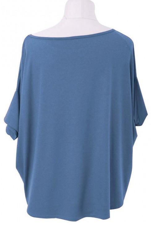 Bluzka oversize – DAGMARA II (ciepły materiał) w kolorze jeansowym