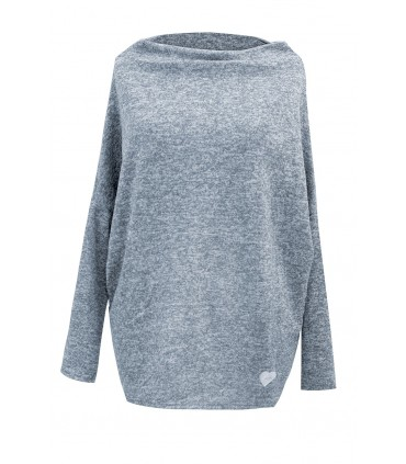 Luźny szaroniebieski sweterek z serduszkiem - CLARISSA