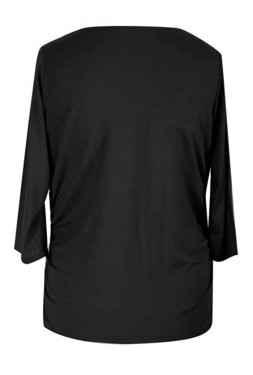 Czarna bluzka z dekoltem woda i marszczeniem HELEN