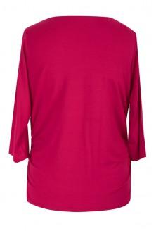 Wiśniowa bluzka z dekoltem woda i marszczeniem HELEN