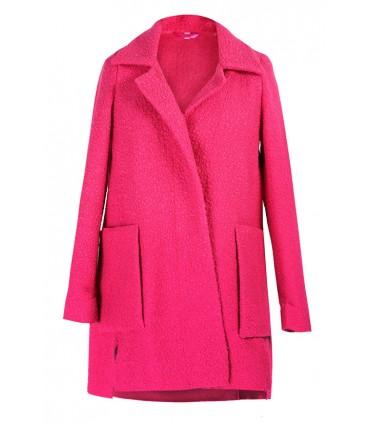 RÓŻOWY płaszcz z dużymi kieszeniami ESTELLA