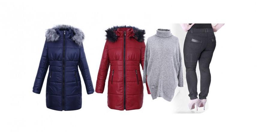 Ciepłe płaszcze pikowane zimowe - duże rozmiary
